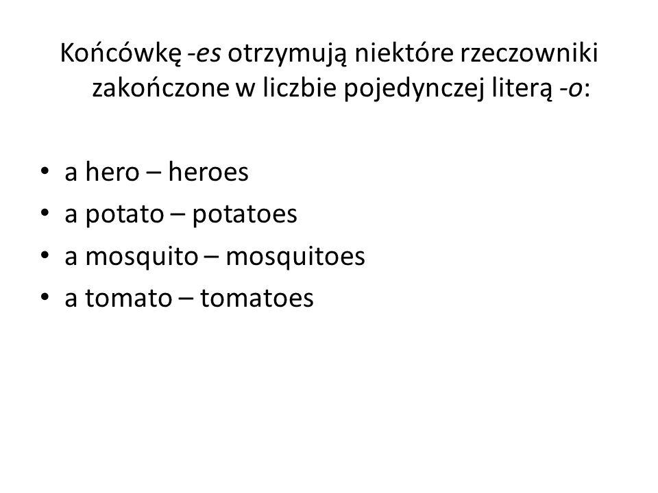 Końcówkę -es otrzymują niektóre rzeczowniki zakończone w liczbie pojedynczej literą -o: