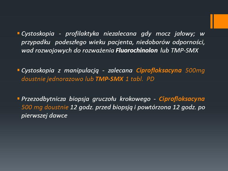 Cystoskopia - profilaktyka niezalecana gdy mocz jałowy; w przypadku podeszłego wieku pacjenta, niedoborów odporności, wad rozwojowych do rozważenia Fluorochinolon lub TMP-SMX