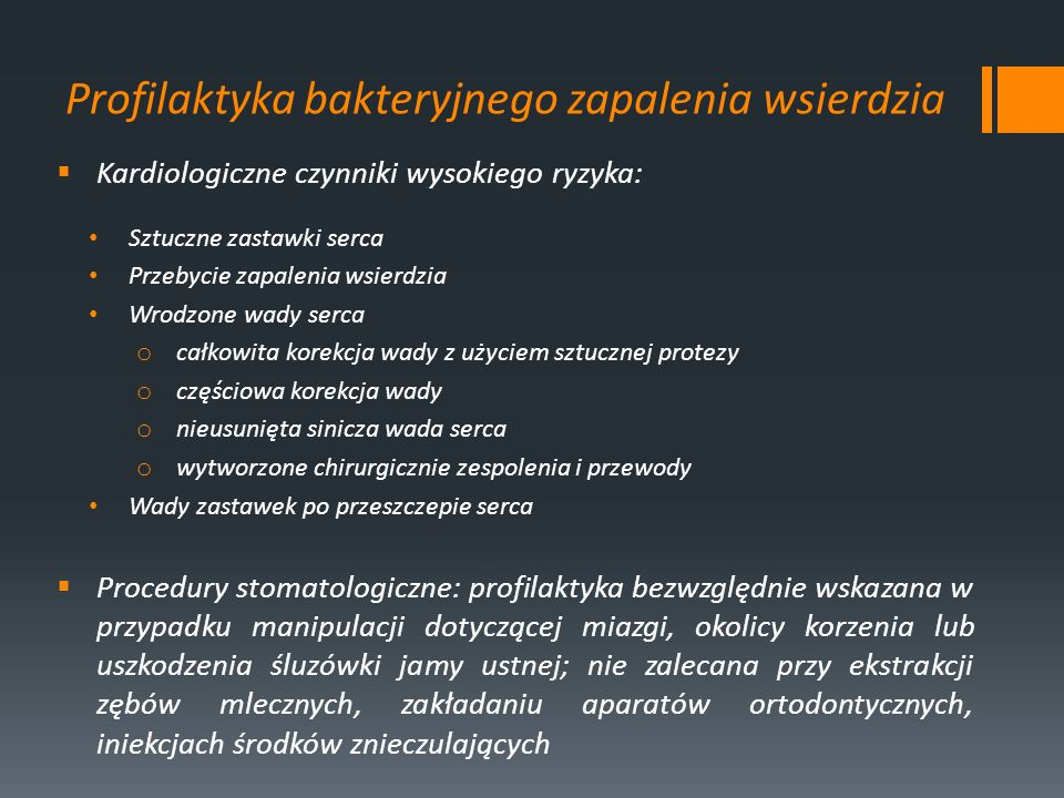 Profilaktyka bakteryjnego zapalenia wsierdzia