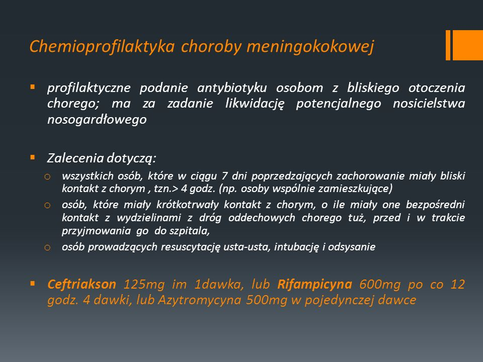 Chemioprofilaktyka choroby meningokokowej