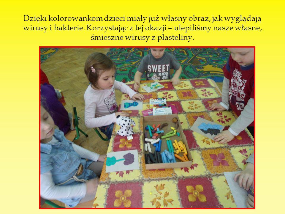 Dzięki kolorowankom dzieci miały już własny obraz, jak wyglądają wirusy i bakterie.