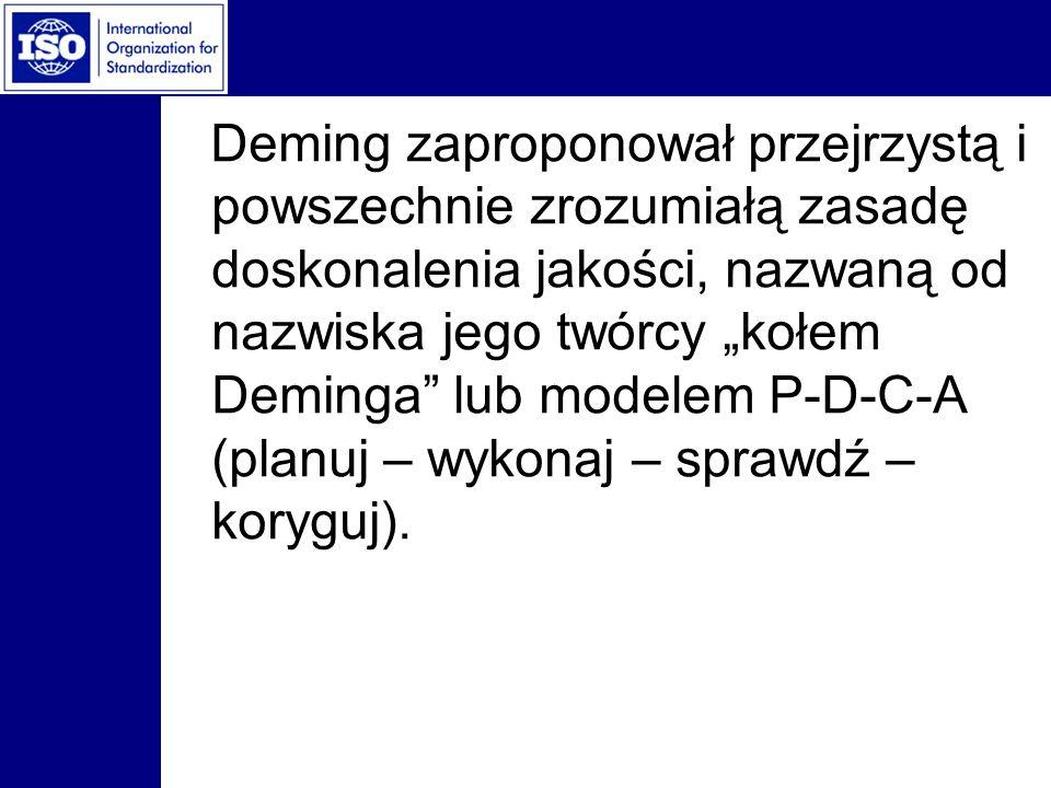 """Deming zaproponował przejrzystą i powszechnie zrozumiałą zasadę doskonalenia jakości, nazwaną od nazwiska jego twórcy """"kołem Deminga lub modelem P-D-C-A (planuj – wykonaj – sprawdź – koryguj)."""
