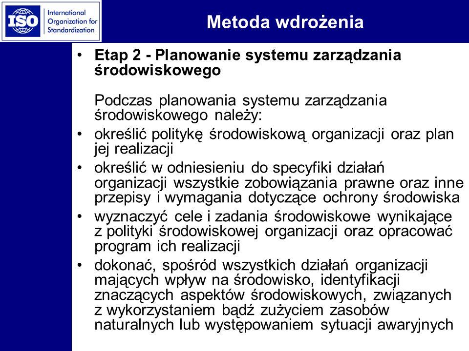 Metoda wdrożenia Etap 2 - Planowanie systemu zarządzania środowiskowego Podczas planowania systemu zarządzania środowiskowego należy: