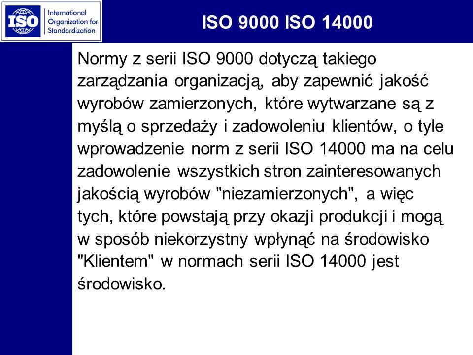 ISO 9000 ISO 14000 Normy z serii ISO 9000 dotyczą takiego