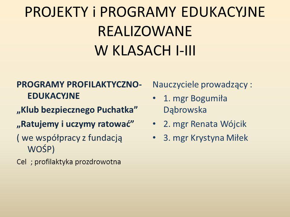 PROJEKTY i PROGRAMY EDUKACYJNE REALIZOWANE W KLASACH I-III