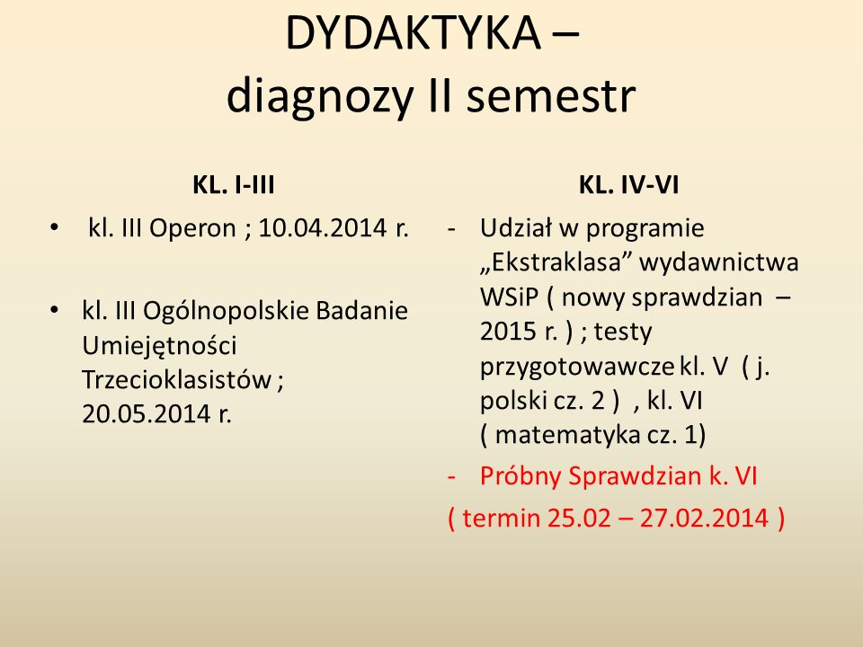DYDAKTYKA – diagnozy II semestr