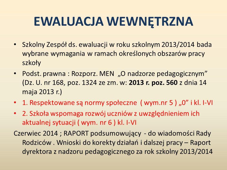 EWALUACJA WEWNĘTRZNA Szkolny Zespół ds. ewaluacji w roku szkolnym 2013/2014 bada wybrane wymagania w ramach określonych obszarów pracy szkoły.