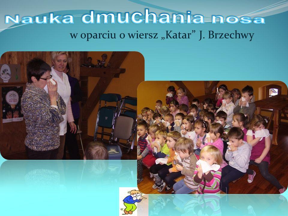 """Nauka dmuchania nosa w oparciu o wiersz """"Katar J. Brzechwy"""
