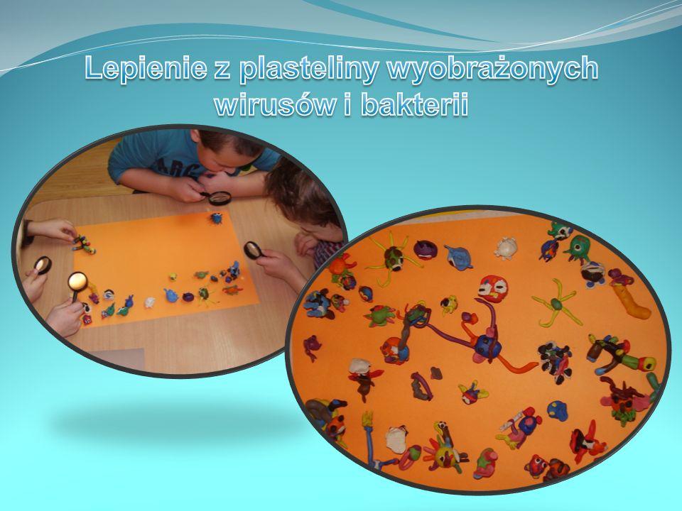 Lepienie z plasteliny wyobrażonych wirusów i bakterii