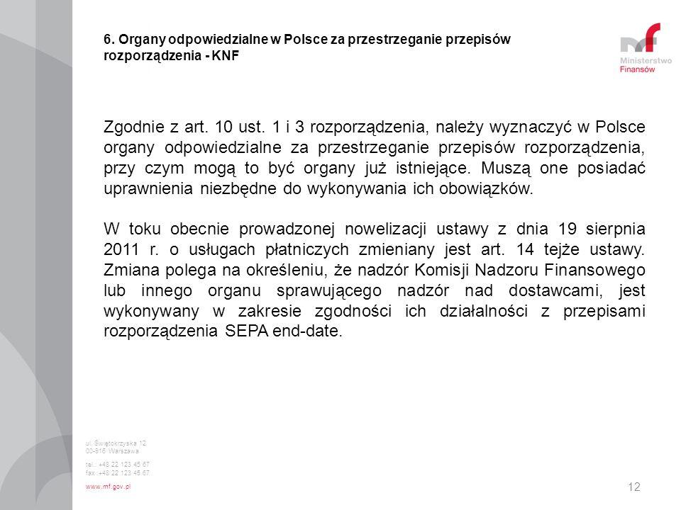 6. Organy odpowiedzialne w Polsce za przestrzeganie przepisów rozporządzenia - KNF