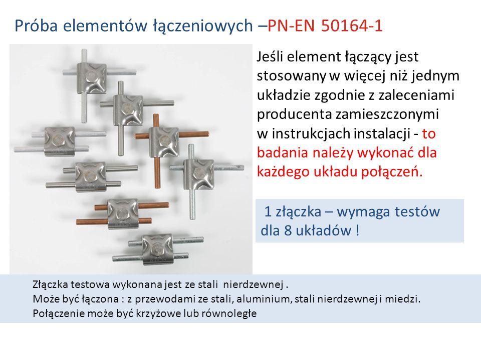 Próba elementów łączeniowych –PN-EN 50164-1