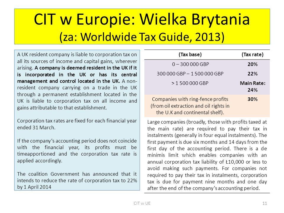 CIT w Europie: Wielka Brytania (za: Worldwide Tax Guide, 2013)