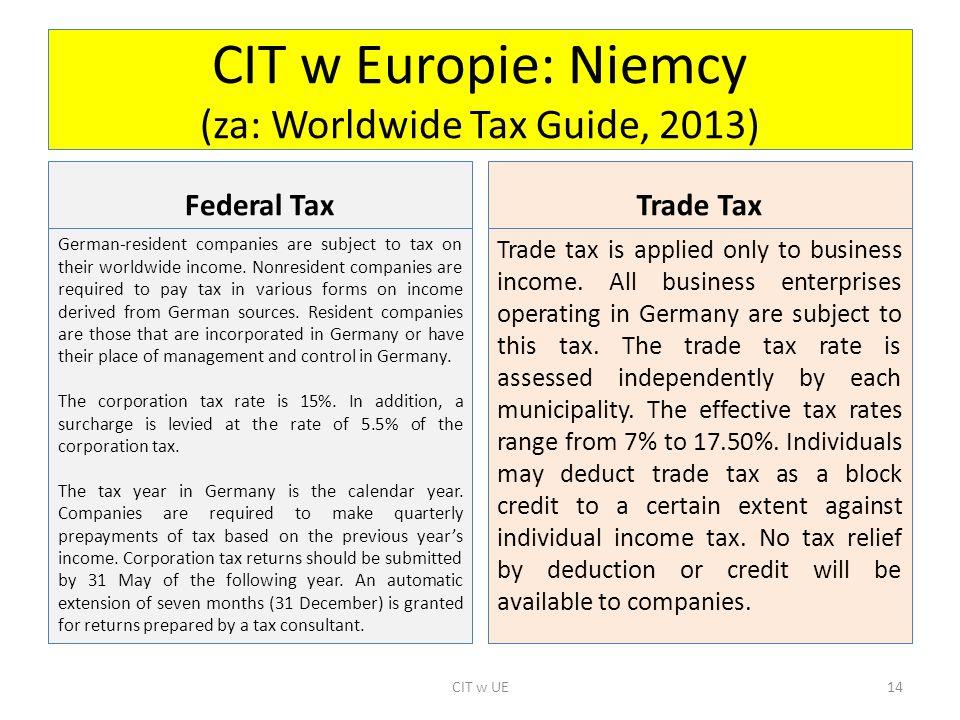 CIT w Europie: Niemcy (za: Worldwide Tax Guide, 2013)