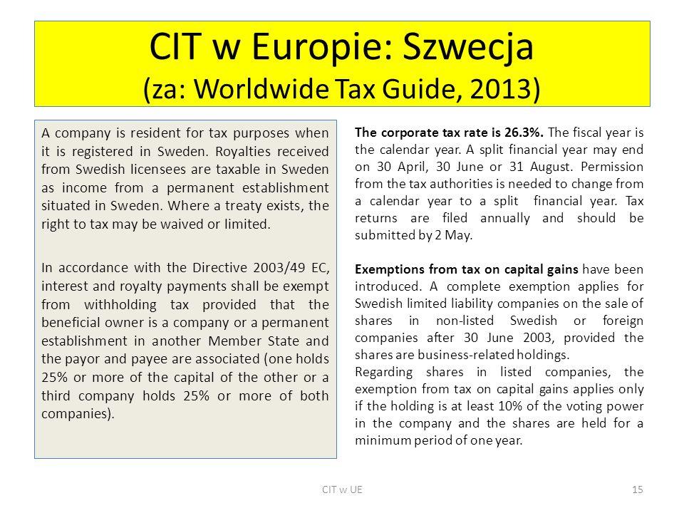 CIT w Europie: Szwecja (za: Worldwide Tax Guide, 2013)