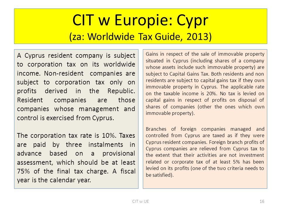 CIT w Europie: Cypr (za: Worldwide Tax Guide, 2013)