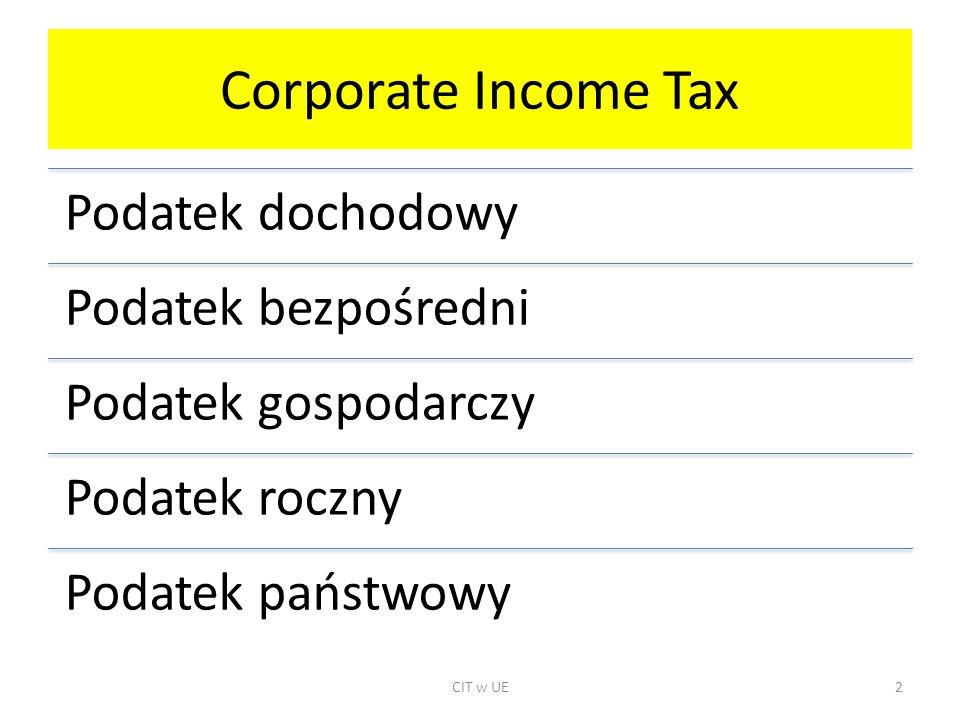 Corporate Income Tax Podatek dochodowy Podatek bezpośredni