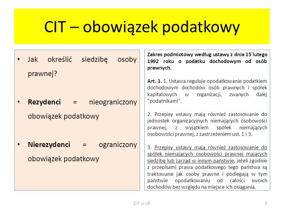 CIT – obowiązek podatkowy