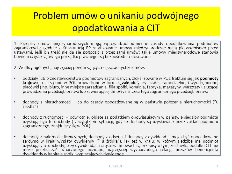 Problem umów o unikaniu podwójnego opodatkowania a CIT