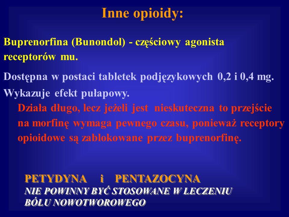 Inne opioidy: Buprenorfina (Bunondol) - częściowy agonista