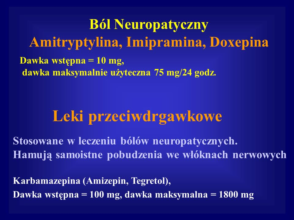 Amitryptylina, Imipramina, Doxepina Leki przeciwdrgawkowe