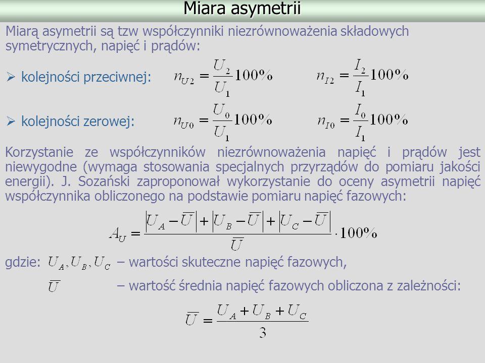 Miara asymetrii Miarą asymetrii są tzw współczynniki niezrównoważenia składowych symetrycznych, napięć i prądów:
