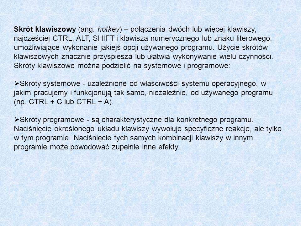 Skrót klawiszowy (ang. hotkey) – połączenia dwóch lub więcej klawiszy, najczęściej CTRL, ALT, SHIFT i klawisza numerycznego lub znaku literowego, umożliwiające wykonanie jakiejś opcji używanego programu. Użycie skrótów klawiszowych znacznie przyspiesza lub ułatwia wykonywanie wielu czynności.