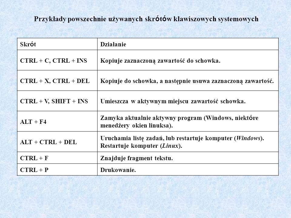 Przykłady powszechnie używanych skrótów klawiszowych systemowych