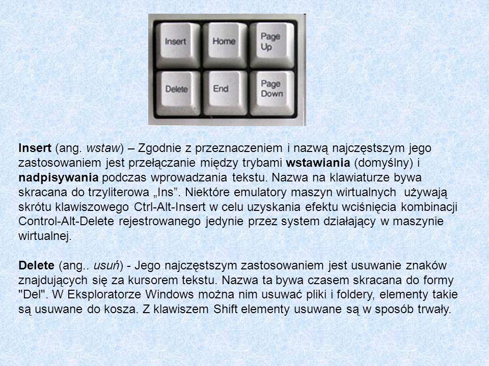 """Insert (ang. wstaw) – Zgodnie z przeznaczeniem i nazwą najczęstszym jego zastosowaniem jest przełączanie między trybami wstawiania (domyślny) i nadpisywania podczas wprowadzania tekstu. Nazwa na klawiaturze bywa skracana do trzyliterowa """"Ins . Niektóre emulatory maszyn wirtualnych używają skrótu klawiszowego Ctrl-Alt-Insert w celu uzyskania efektu wciśnięcia kombinacji Control-Alt-Delete rejestrowanego jedynie przez system działający w maszynie wirtualnej."""