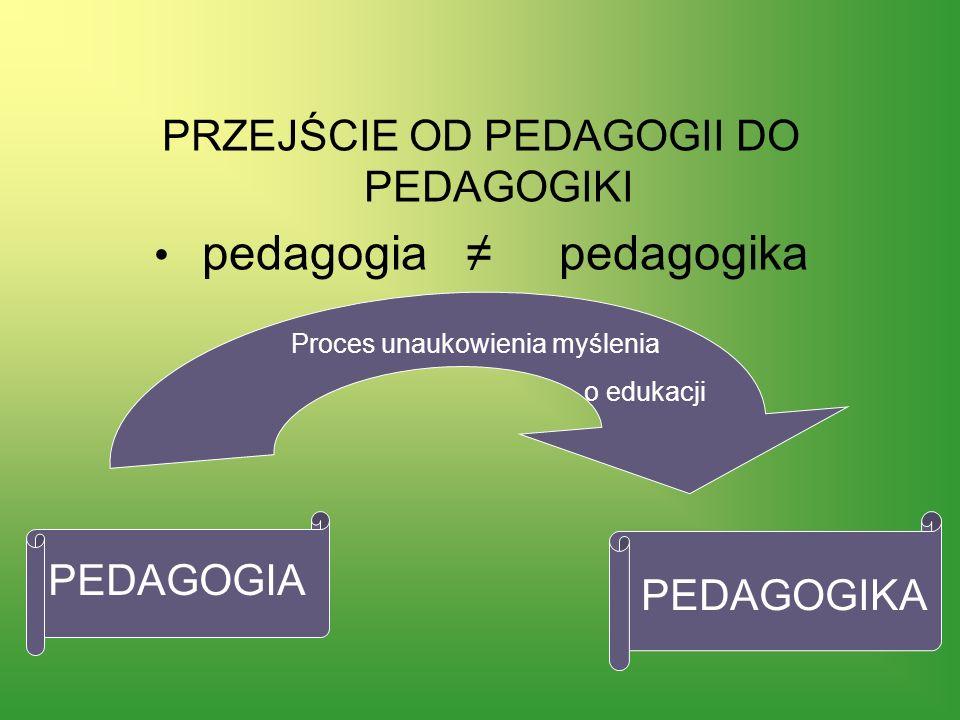 PRZEJŚCIE OD PEDAGOGII DO PEDAGOGIKI pedagogia ≠ pedagogika