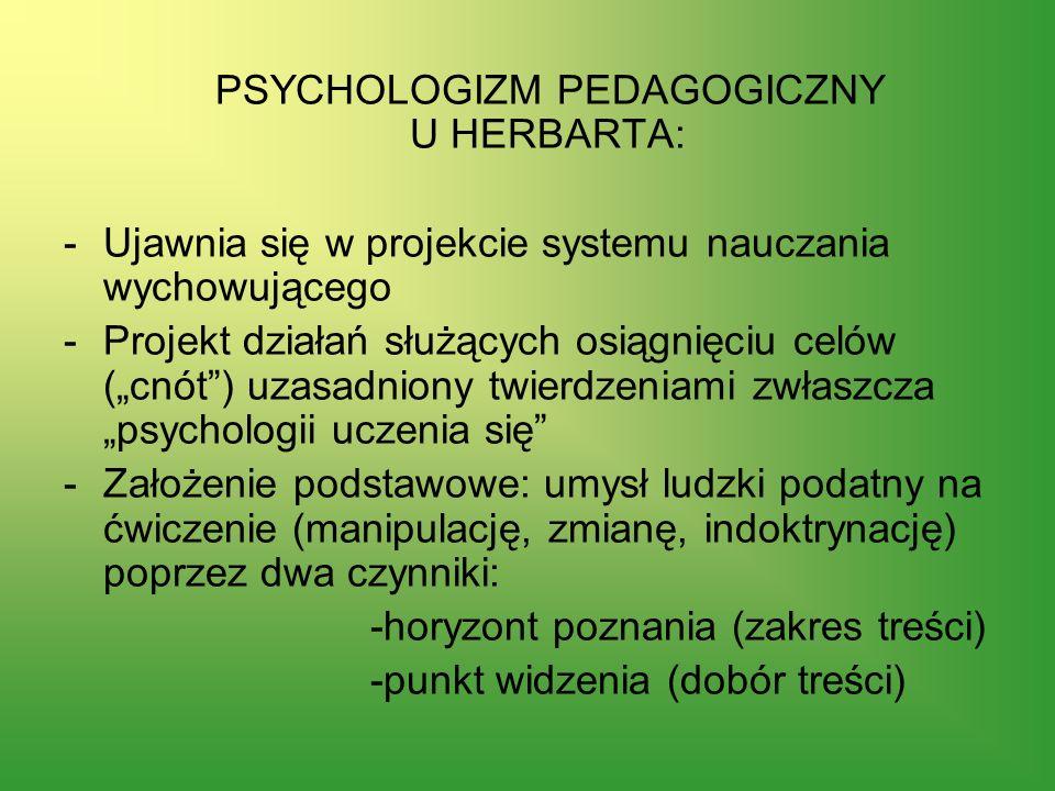 PSYCHOLOGIZM PEDAGOGICZNY U HERBARTA: