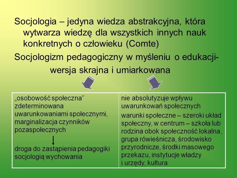 Socjologizm pedagogiczny w myśleniu o edukacji-