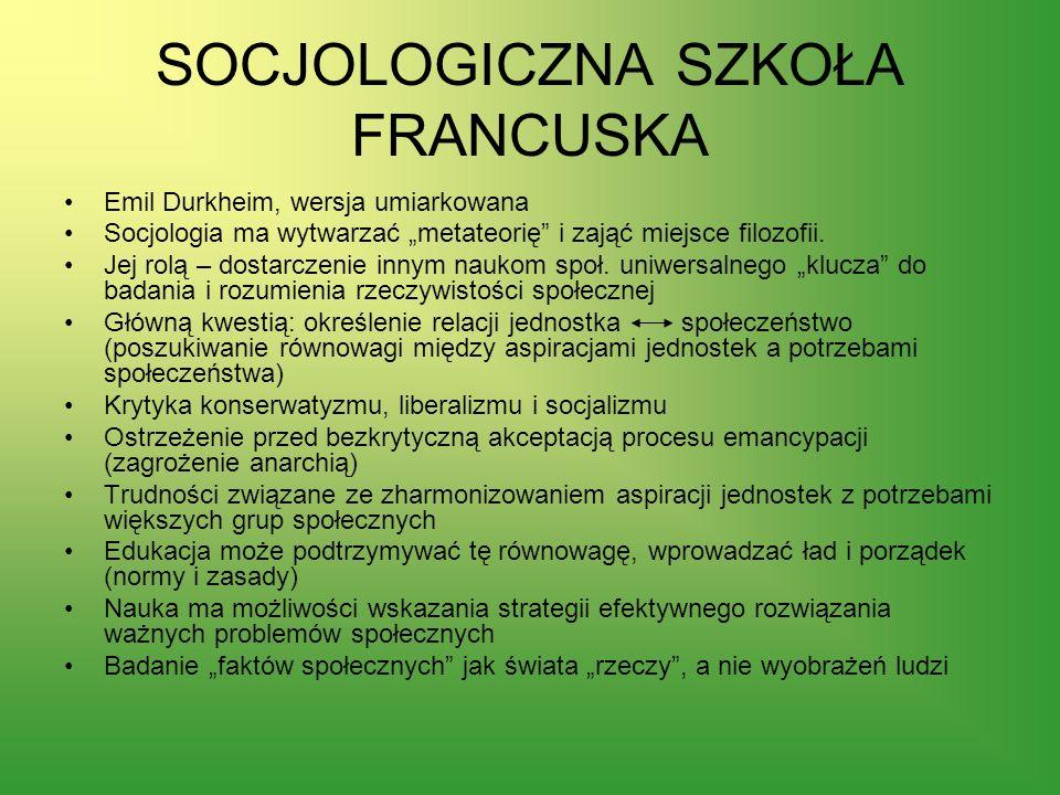 SOCJOLOGICZNA SZKOŁA FRANCUSKA
