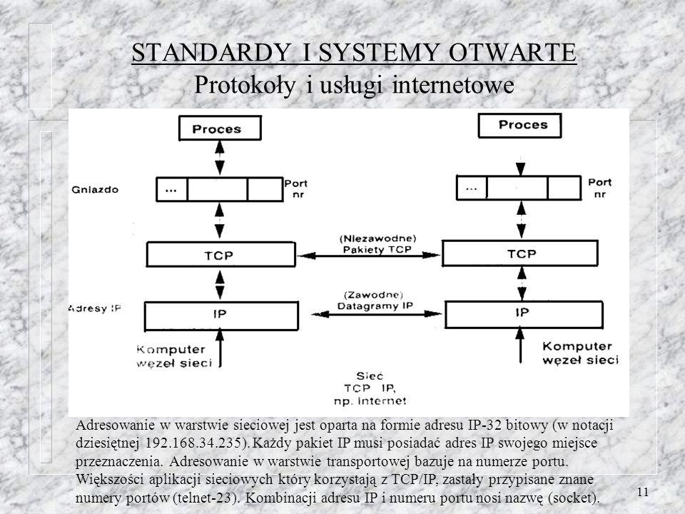 STANDARDY I SYSTEMY OTWARTE Protokoły i usługi internetowe