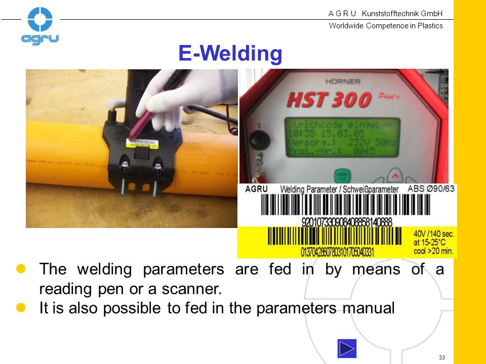 E-Welding The welding parameters are fed in by means of a reading pen or a scanner.