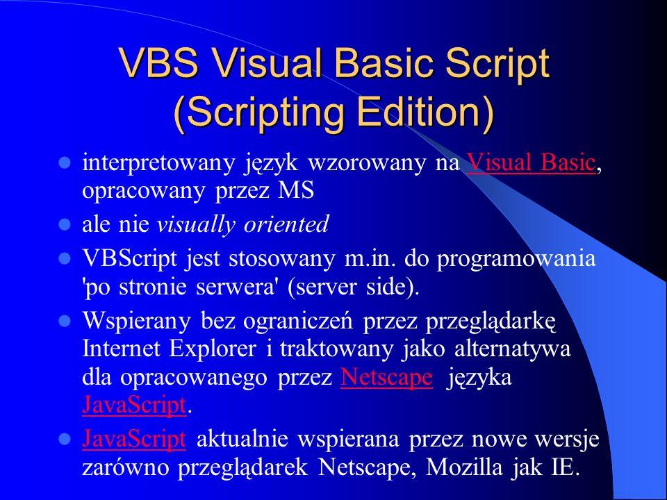 VBS Visual Basic Script (Scripting Edition)