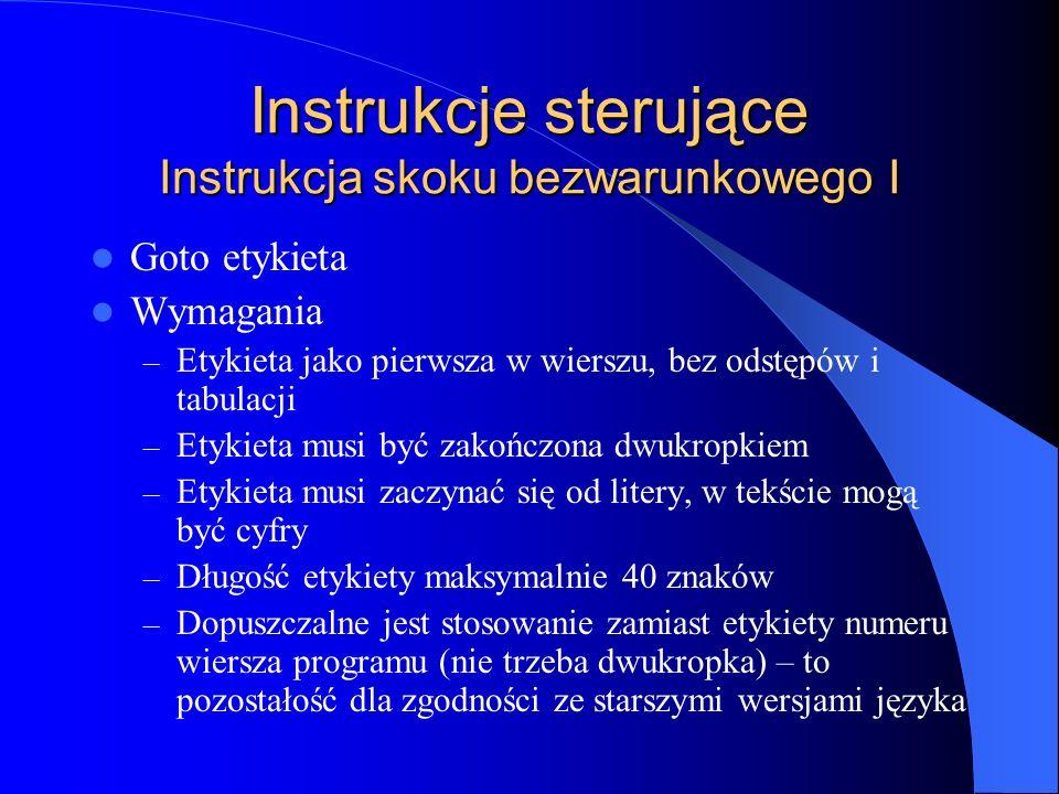 Instrukcje sterujące Instrukcja skoku bezwarunkowego I