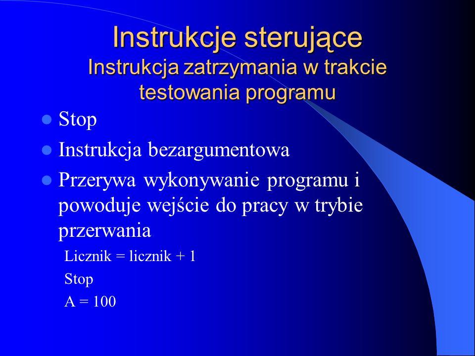 Instrukcje sterujące Instrukcja zatrzymania w trakcie testowania programu