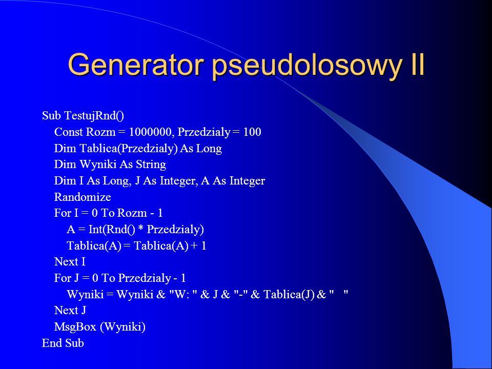 Generator pseudolosowy II