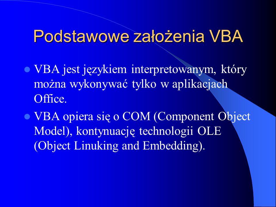 Podstawowe założenia VBA