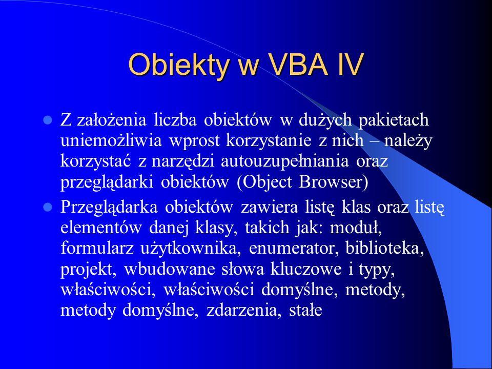 Obiekty w VBA IV