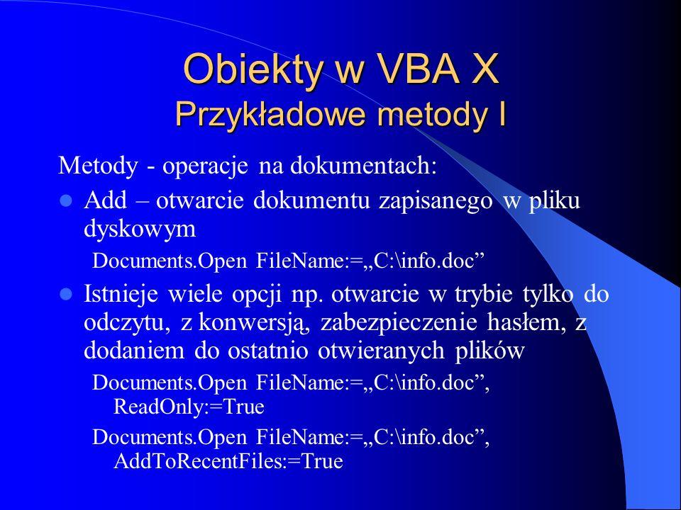 Obiekty w VBA X Przykładowe metody I