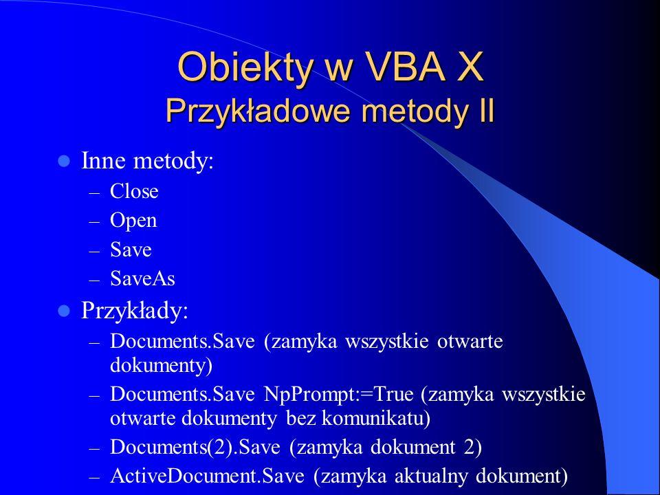 Obiekty w VBA X Przykładowe metody II