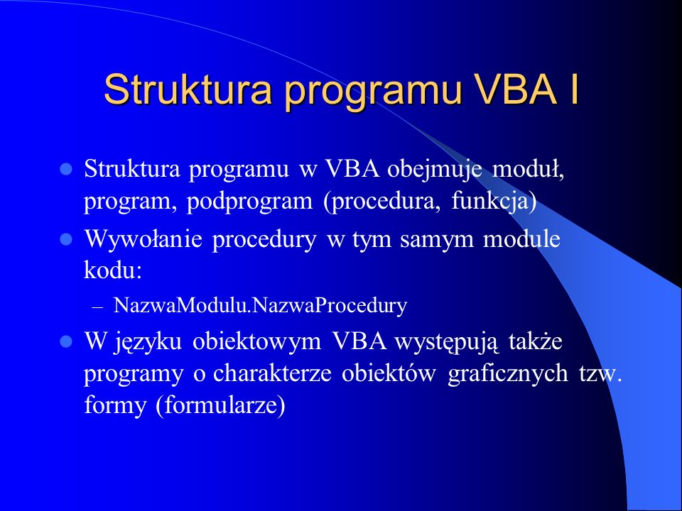 Struktura programu VBA I