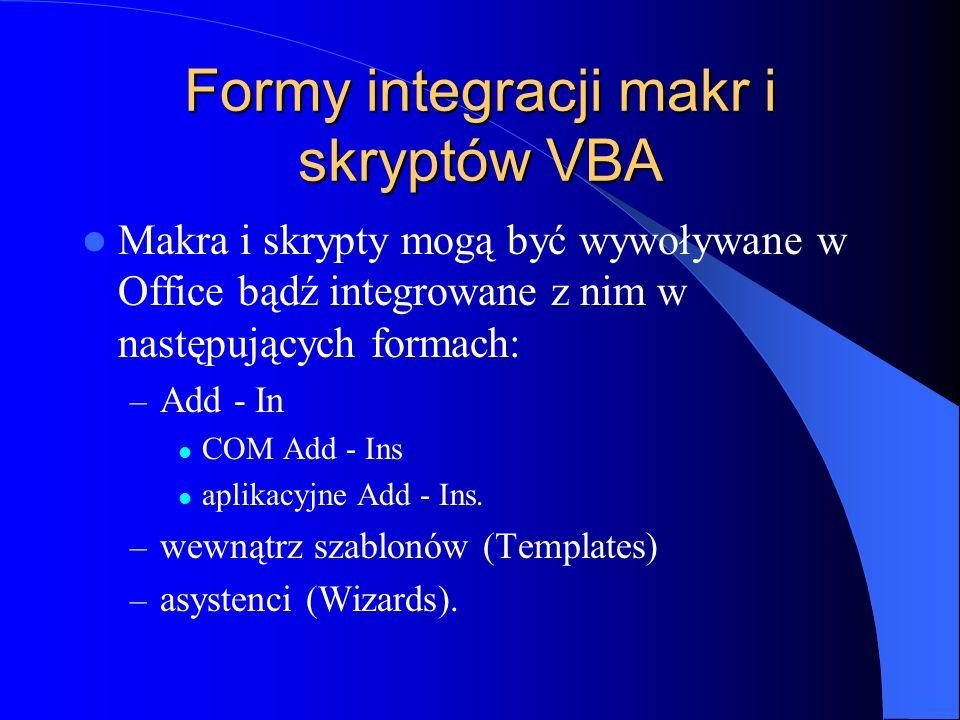 Formy integracji makr i skryptów VBA