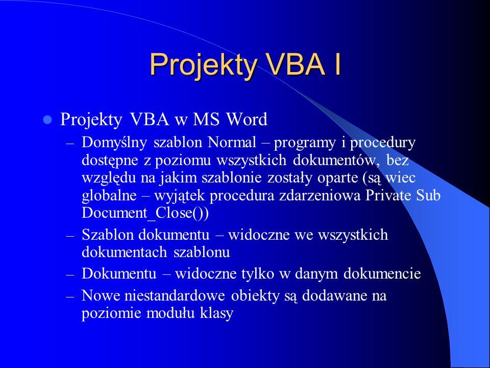 Projekty VBA I Projekty VBA w MS Word