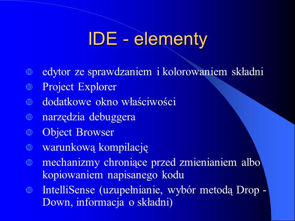 IDE - elementy edytor ze sprawdzaniem i kolorowaniem składni