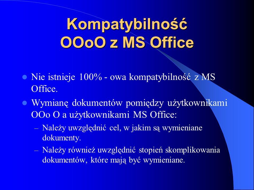 Kompatybilność OOoO z MS Office