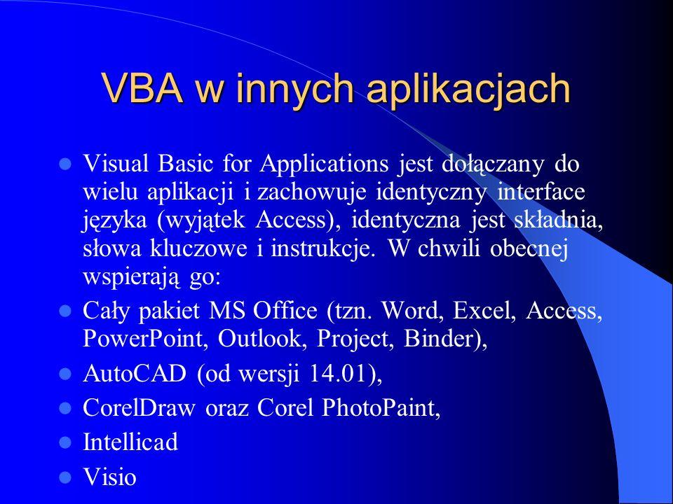 VBA w innych aplikacjach