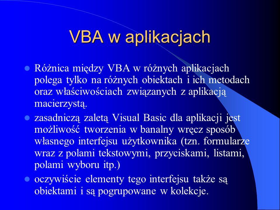 VBA w aplikacjach