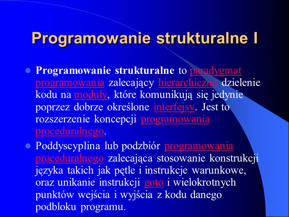 Programowanie strukturalne I